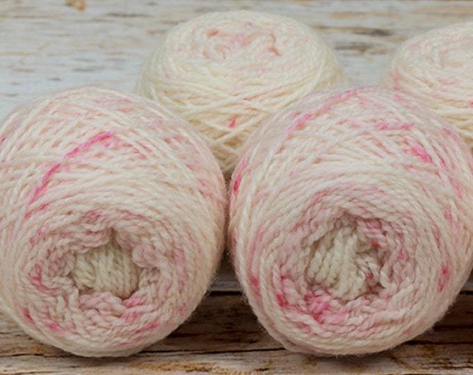"Wee "" Cherry Blossom "" Llark Handpainted Speckle Dyed Fingering Weight Yarn Mini Skein"
