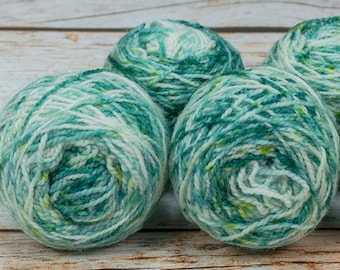 """Wee """" Scattered Seaglass """" Llark Handpainted Speckle Dyed Fingering Weight Yarn Mini Skein"""