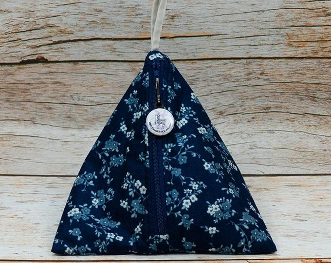 Dark Blue Floral - Llexical Notions Pouch - Knitting, Crochet, Spinning Accessory Bag