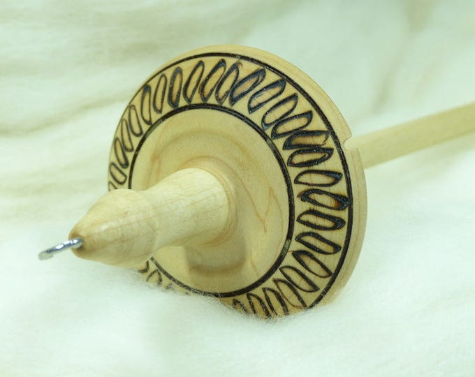 Lleto Hand-Turned Maple Pyrograph Drop Spindle / Top Whorl 32 Grams