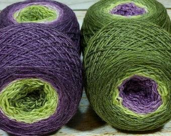 """Full """" Fruit Of The Vine """" - Lleaf Handpainted Gradient Fingering Weight Yarn"""
