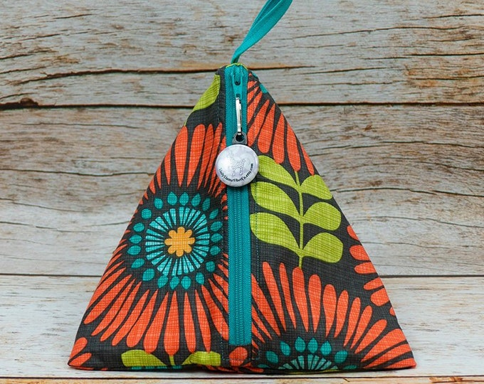 Clementine Dahlias - Llexical Notions Pouch - Knitting, Crochet, Spinning Accessory Bag