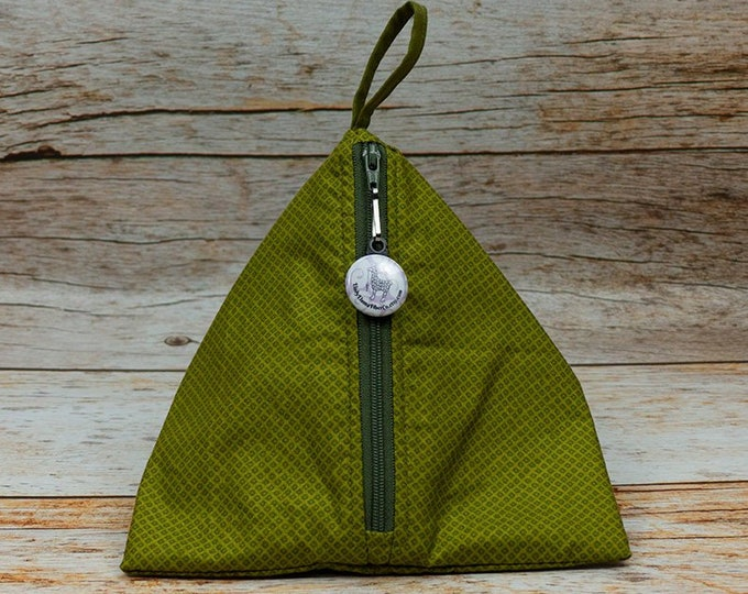 Vibrant Olive - Llexical Notions Pouch - Knitting, Crochet, Spinning Accessory Bag