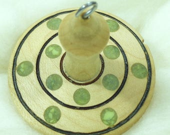 Lluna Hand-Turned Maple / Serpentine Pyrograph Drop Spindle-Top Whorl 27 Grams