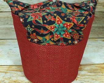 CLEARANCE Gingerbread Stars -Medium Llayover Knitting Tote/Knitting, Spinning, Crochet Project Bag