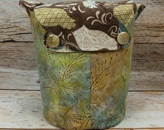 Batik Owls 1 -Small Llayover Knitting Tote/ Knitting, Spinning, Crochet Bag