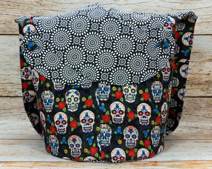 Sugar Skull & Small Chrysanthemum -Large Llayover Tote/ Knitting, Spinning, Crochet Project Bag