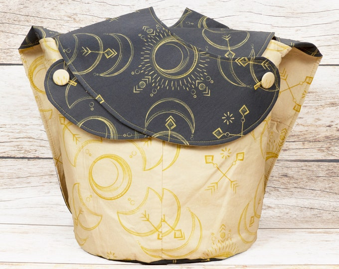 Solar Eclipse -Large Llayover Tote/ Knitting, Spinning, Crochet Project Bag