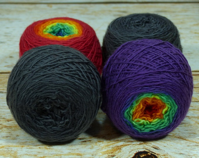 "Colorwork Set "" Somewhere Over "" - Llift Handpainted Gradient Single Ply Yarn Fingering Weight"