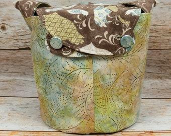Batik Owls 2 - Medium Llayover Knitting Tote / Knitting, Spinning, Crochet Project Bag
