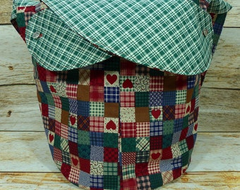 Home For The Holidays Green Plaid -Large Llayover Tote/ Knitting, Spinning, Crochet Project Bag