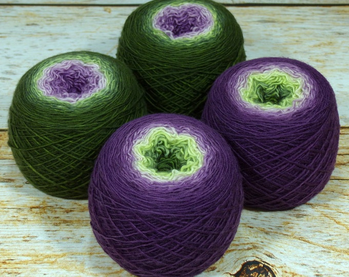 "Full "" Fruit Of The Vine "" - Llift Handpainted Gradient Single Ply Fingering Weight Yarn"