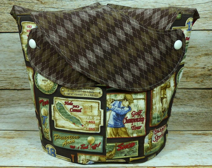 CLEARANCE Brown Argyle On The Green -Large Llayover Tote/ Knitting, Spinning, Crochet Project Bag