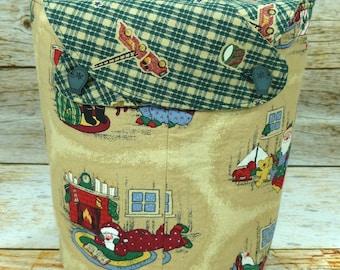 CLEARANCE Green Plaid Santa -Small Llayover Knitting Tote/ Knitting, Spinning, Crochet Bag