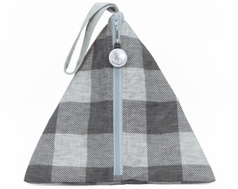 Sock Pouch - Grey Plaid - Llexical Divided Sock Pouch - Knitting, Crochet, Spinning Project Bag