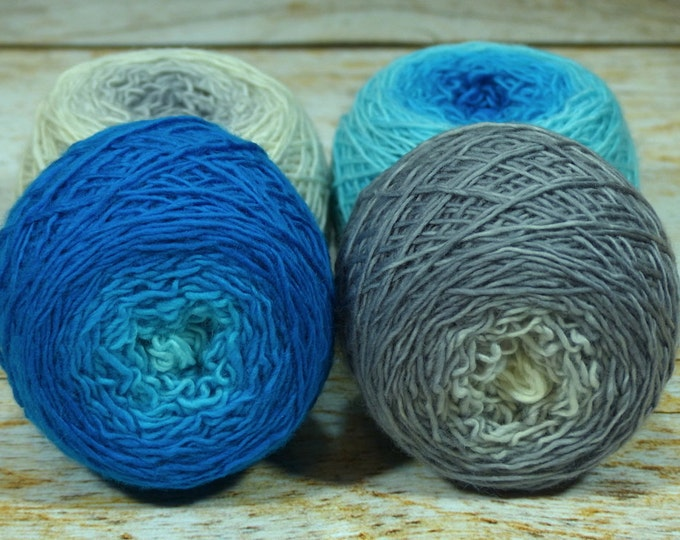 "Colorwork Set "" Arctic "" - Llift Handpainted Gradient Single Ply Yarn"