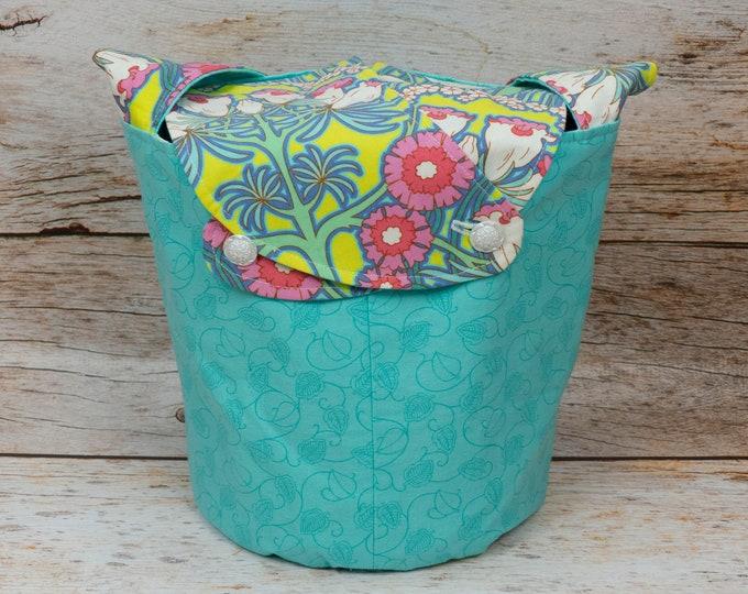 Art Nouveau Water Garden - Medium Llayover Knitting Tote / Knitting, Spinning, Crochet Project Bag