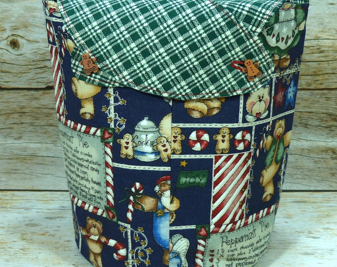 CLEARANCE Teddybear Gingermen -Small Llayover Knitting Tote/ Knitting, Spinning, Crochet Bag