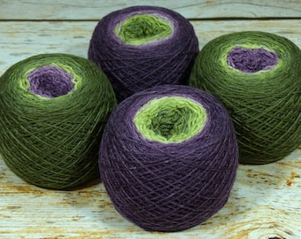"Full "" Fruit Of The Vine "" - Lleaf Handpainted Gradient Fingering Weight Yarn"