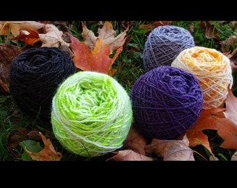 Samhain Sparkle Set of 5 Wee Skeins - Lleap Sparkle Hand Dyed Semisolid/Speckle Fingering Weight Yarn Mini Skeins