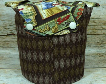 Brown Argyle On The Green - Medium Llayover Knitting Tote / Knitting, Spinning, Crochet Project Bag