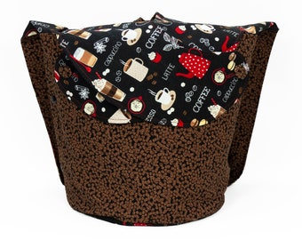 Coffee Please -Large Llayover Tote/ Knitting, Spinning, Crochet Project Bag