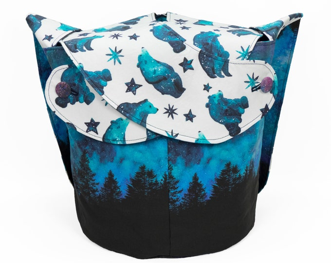 Polar Night -Large Llayover Tote/ Knitting, Spinning, Crochet Project Bag