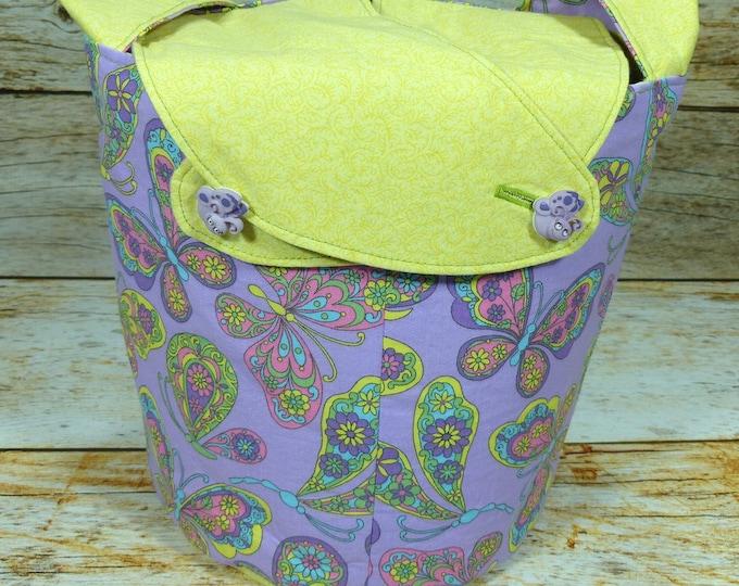 Butterflies & Flutterbyes Paisley -Medium Llayover Knitting Tote/Knitting, Spinning, Crochet Project Bag