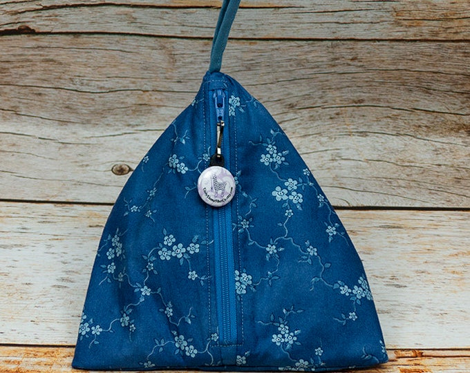 Blue Flowering Vine - Llexical Notions Pouch - Knitting, Crochet, Spinning Accessory Bag