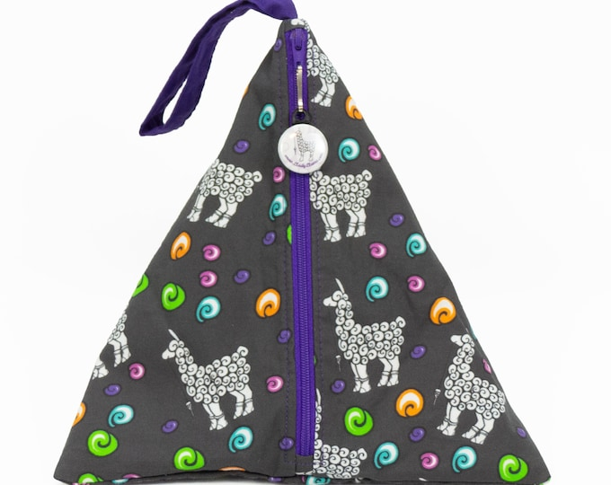 Sock Pouch - Elli Grey w/Purple - Llexical Divided Sock Pouch - Knitting, Crochet, Spinning Project Bag
