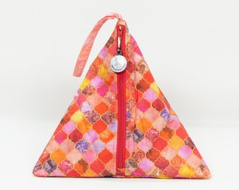 Summer Floral Tiles  - Llexical Divided Sock Pouch - Knitting, Crochet, Spinning Project Bag