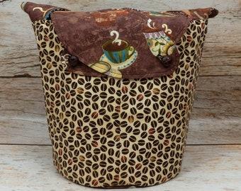 Coffee Break - Medium Llayover Knitting Tote / Knitting, Spinning, Crochet Project Bag