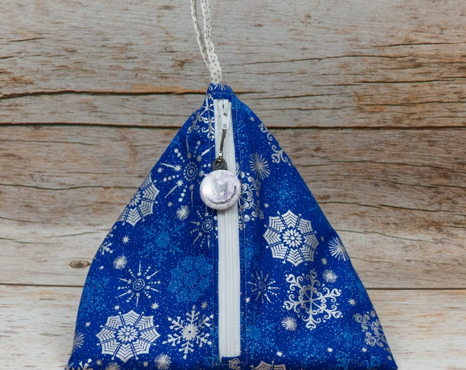 Bold Blue Snowflake - Llexical Notions Pouch - Knitting, Crochet, Spinning Accessory Bag
