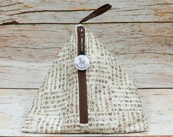 Notion - Katakana On Parchment - Llexical Notions Pouch - Knitting, Crochet, Spinning Accessory Bag