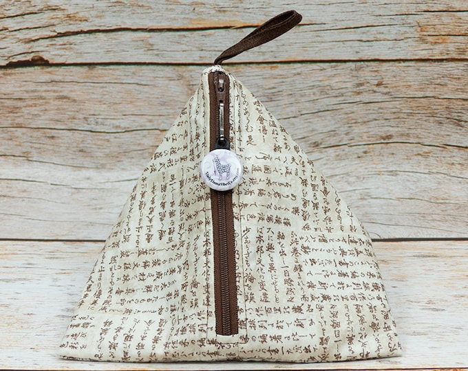 Katakana On Parchment - Llexical Notions Pouch - Knitting, Crochet, Spinning Accessory Bag
