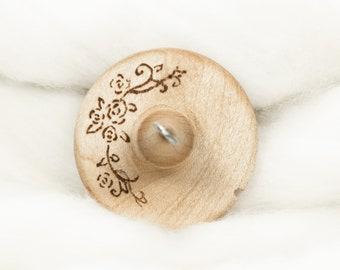 Rose Stencil 2 - Lluna Hand-Turned Maple Wood / Pyrograph Drop Spindle Medium Light -Top Whorl 20 Grams