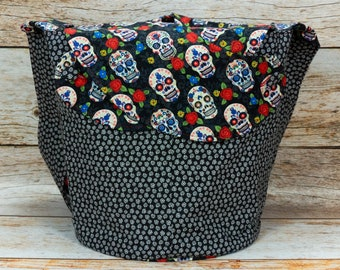 Sugar Skull & Chrysanthemum Burst -Large Llayover Tote/ Knitting, Spinning, Crochet Project Bag