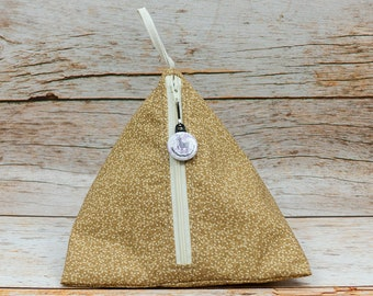 Pale Golden Floral - Llexical Notions Pouch - Knitting, Crochet, Spinning Accessory Bag