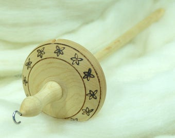 Lleto Hand-Turned Maple Pyrograph Drop Spindle / Top Whorl 42 Grams