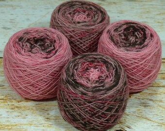 "Fraternal Sock Twins "" Chocolate Covered Cherry "" - Llark Handpainted Gradient Speckle Sock Yarn Set"