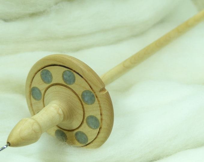 Lleto Hand-Turned Maple / Calcite Drop Spindle - Top Whorl 35 Grams