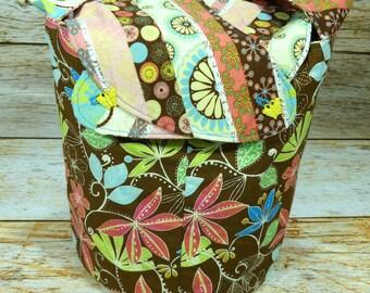 Floral & Stripe -Medium Llayover Knitting Tote/Knitting, Spinning, Crochet Project Bag