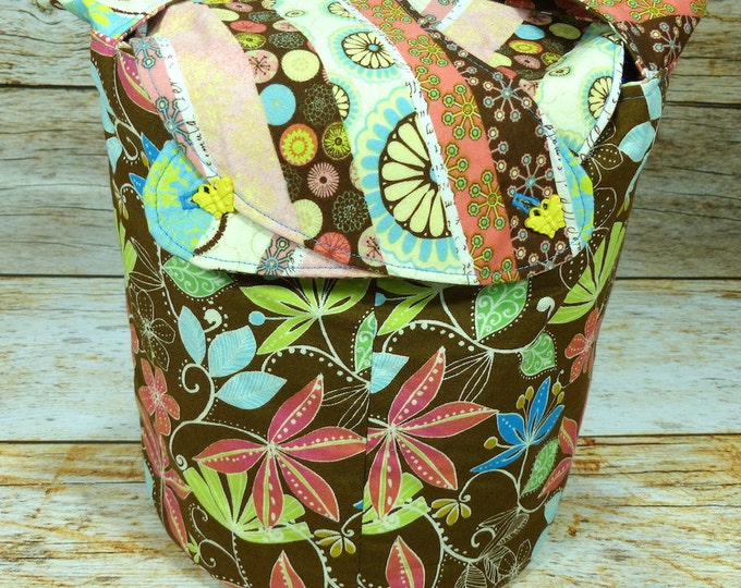 Floral & Stripe -Medium Llayover Knitting Tote/Knitting, Spinning, Crochet Project Bag
