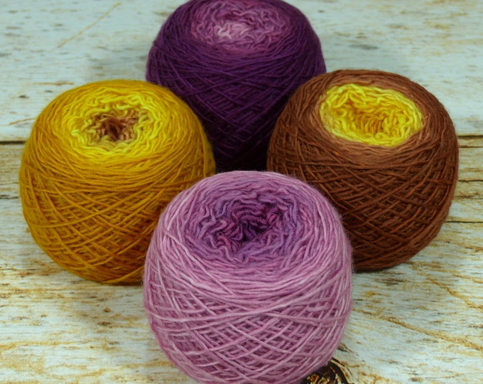 "Colorwork Set "" Autumn Love "" - Llift Handpainted Gradient Single Ply Yarn Fingering Weight"