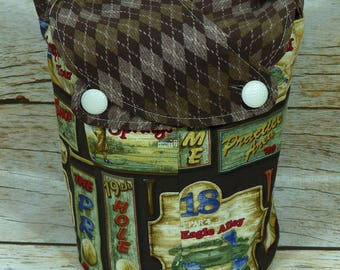CLEARANCE Brown Argyle On The Green -Small Llayover Knitting Tote/ Knitting, Spinning, Crochet Bag