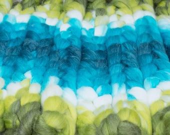 Mermaiden's Tale / Lleaf Handpainted SW Merino-Bamboo-Nylon Combed Top/ 4 oz.