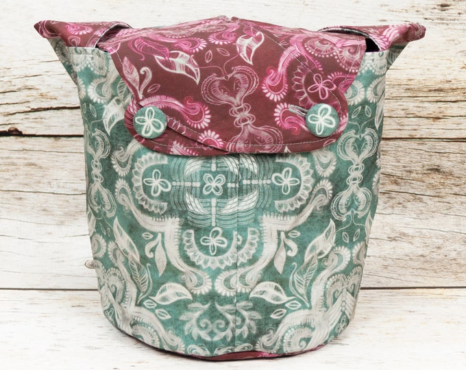 Damask - Medium Llayover Knitting Tote / Knitting, Spinning, Crochet Project Bag