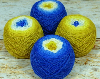 "Sock Twins "" Touch Of Midas "" - Lleaf Handpainted Gradient Sock Yarn Set"