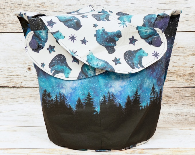 Polar Night -Large Llayover Tote/ Knitting, Spinning, Crochet Project Bag