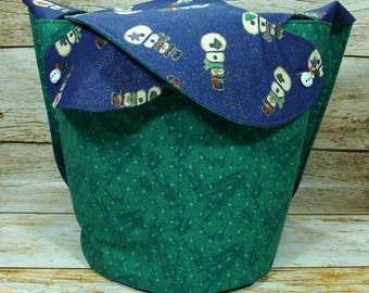 CLEARANCE Snowman Swirl -Large Llayover Tote/ Knitting, Spinning, Crochet Project Bag